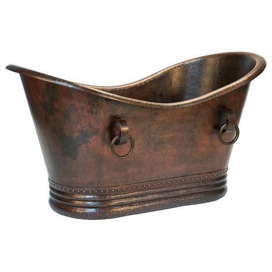 60 Hammered Copper Double Slipper Bathtub With Rings